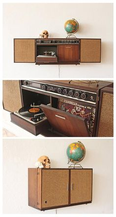 General Electric Stereophonic Hi-Fi Record Player Solid State Stereo Wall Cabinet
