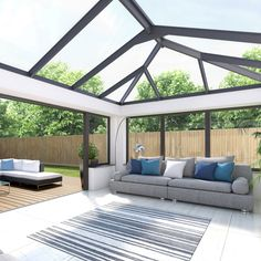 Aluminium flat roof lantern & glass skylights by Hehku Flat Roof Systems, Roofing Systems, Orangerie Extension, Flat Roof Skylights, Orangery Roof, House Extension Design, Roof Extension, Extension Plans, Roof Lantern