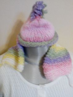 NWOT Handmade Baby girl knitted Colorful  Rainbow Hat & scarf