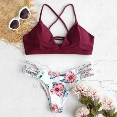 Floral Print Cut Out Two Piece Bikini