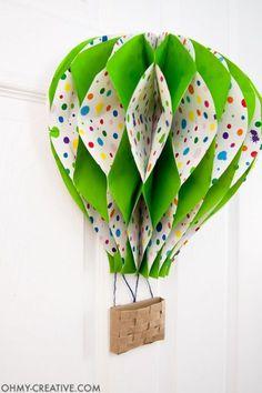 Scorching Air Balloon DecorDIY Scorching Air Balloon Decor DIY Hot Air Balloon Decor - Oh My Creative hot air balloon party Оформление ТЦ DIY Paper Hot Air Balloons - Fluorescent Beige DIY Hot Air Balloon Decor Balloon Door, Hot Air Balloon Paper, Diy Hot Air Balloons, Balloon Party, Hot Air Balloon Craft For Kids, Hot Air Balloon Classroom Theme, Safari Theme Nursery, Nursery Decor, Origami