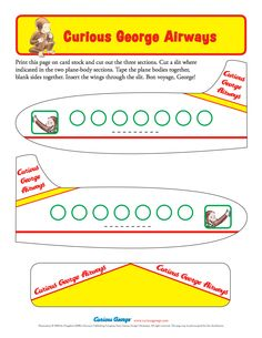 Curious George Paper Airplane Printable
