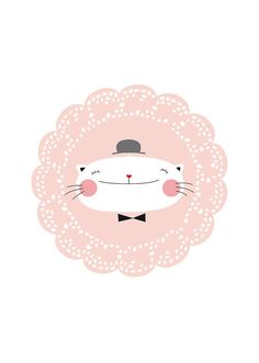 Poster für Ihre Wände - Rosa Dekoration - weiße Katze - SIDONIE - original Inkjet Print