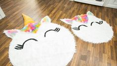 DIY Unicorn Rug. Update an ordinary rug and turning it into something colorful and whimsical.