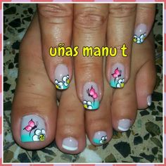 Uñas                                                       … Fingernail Designs, Toe Nail Designs, Pretty Pedicures, Pretty Nails, Green Nail Designs, Butterfly Nail Art, Magic Nails, Pedicure Designs, Hot Nails