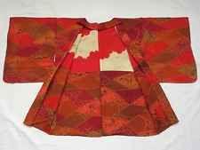 Japanese Vintage Kimono, HAORI, Silk, Orange