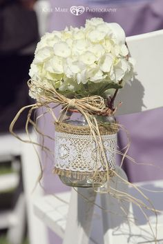 Hydrangea, mason jar, burlap and lace. PERFECT! This wedding had some very creative touches.