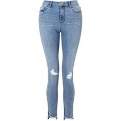 Miss Selfridge Lizzie Knee Rip Jean ($51) ❤ liked on Polyvore featuring jeans, women jeans, ripped blue jeans, ripped jeans, distressing jeans, destroyed jeans and blue jeans