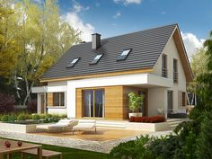 Projekt Patryk G1 Dream House Plans, My Dream Home, Stone Siding, Two Storey House, Simple House Design, Fire Doors, Types Of Doors, Steel Buildings, House Roof