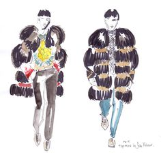 London Collections: Men inspired Amsterdam-based illustrator Sella Molenaar to create some drawings for Fucking Young! Online, featuring some of our favorite collections for Fall/Winter 2015 ❤️