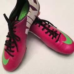 Nike Mercurial outdoor soccer cleats EUC- size 10 In excellent condition, I bought these cleats for my son but he needed a half size larger. These are 8.5 men's or 10 women's. Lightweight with carbon fiber bottom. Bright colors and authentic Nike. Nike Shoes Athletic Shoes