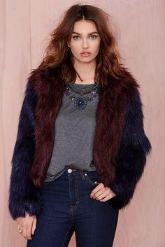 NWT $195 Glamorous Double Trouble Blue Red Shaggy Cropped Faux Fur Jacket M #Glamorous #BasicJacket