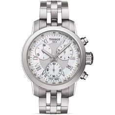 Tissot Prc 200 Women's Quartz Chronograph Watch, 34mm (2.115 BRL) ❤ liked on Polyvore featuring jewelry, watches, sporty watches, quartz wrist watch, crown jewelry, tissot and chronograph watch