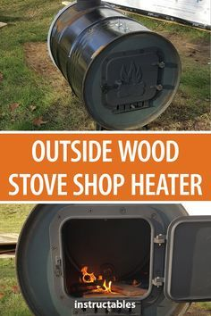 Outside Wood Stove Shop Heater Make an outside wood stove heater for your workshop shed from a 55 gallon metal drum and sheet pipe. Wood Stove Heater, Diy Wood Stove, Pellet Stove, Garage Heater, Diy Heater, Outside Wood Stove, Wood Burning Heaters, Wood Heaters, Barrel Stove