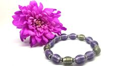 Purple & Green Olive Beaded Bracelet by SpiritShineOn. £3.99 Click to buy. #Spring #Jewellery #Fashion #Flower #Pink #Purple #Gift #Bracelet