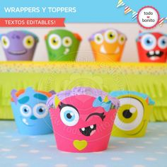 Monstruitos wrappers y toppers para cupcakes