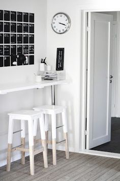 Scandinavian style - home work space in black and white. Painted Ikea stools and FERM living wall calendar Dipped Furniture, Diy Furniture, Ikea Stool, Interior Decorating, Interior Design, Deco Design, Home And Living, Interior Inspiration, Home Kitchens