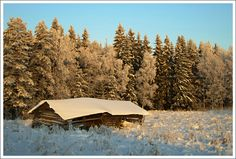 This photo from Eastern Finland, South is titled 'Warped barn'. Finland, Barn, Europe, House Styles, Winter, Places, Beautiful, Lugares, Barns