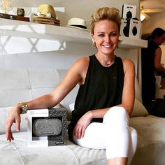 The stunning Malin Akerman, from Rock of Ages, with her new Mini-Clutch Speaker! Click image for more details and to get yours from Experience Headphones on South Granville in Vancouver...