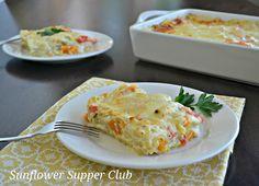 {roasted veggie lasagna with garlic white sauce}