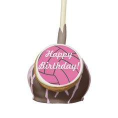 Happy Birthday Pink Volleyball Cake Pops