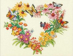 Free Counted Cross Stitch Borders | Wildflower Wreath From Dimensions - Gold Collection - Cross-Stitch ...