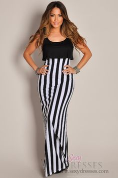 Trendy Black and White Contrast Maxi Dress