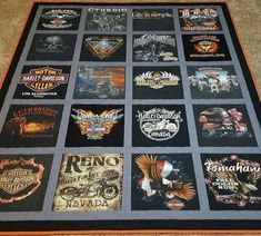 T-shirt quilt. Custom quilts made from 9 to 49 t shirts. Quilting Templates, Quilt Patterns Free, American Quilt, Man Quilt, Harley Davidson T Shirts, Custom Quilts, Sewing Projects, Shirt Quilts, Etsy