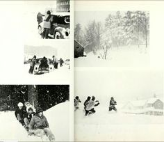 1972 Mansfield State College students playing in the snow