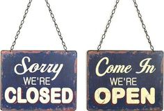 This beautiful Blue Tin Open and Closed Sign will tell your callers when you are open for business. For more open and closed signs visit Antique Farmhouse. Closed Signs, Open Signs, Open Close Sign, Antique Farmhouse, Farmhouse Décor, Tin Walls, Chalkboard Signs, Chalkboards, Rustic Wood Signs