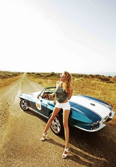 Girl and Car - Vintage Classic Cars and Girls