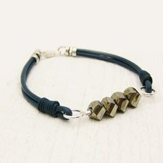 Pyrite & Blue Leather Bracelet with Solid Sterling by byjodi