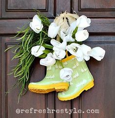 Rainboots & Tulips door decoration from Refresh, Restyle | Featured in Gooseberry Patch Fresh Picked Inspiration slideshow