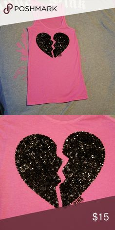 """Blinged heart tank Long Fitted ribbed tank with blinged heart. 27"""" long. PINK Victoria's Secret Tops Tank Tops"""