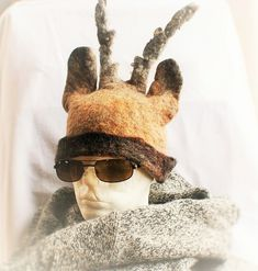 Wool Felt Deer Hat Reindeer Moose Venison Huntsman Hunter Warm Windproof Felted Hat Ecological Scandinavian Wool Hunting Gifts For Men Hunting Gifts, Fingerless Mittens, Scandinavian Christmas, Venison, Ecology, Wool Felt, Fiber Art, Reindeer, Moose