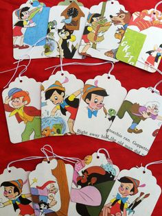 Disney's Pinocchio Children's book gift tags escort cards advice message tags on Etsy, $6.99