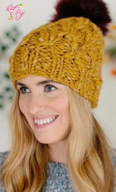 Looking for the perfect one skein hat pattern? This chunky knit boho hat by Knit Collage is a quick knit for intermediate knitters alike, and the perfect gift! Made with just one skein of our bulky Spun Cloud yarn (we knit ours here in color Honeysuckle), save this pin and click through for more fun pattern details! #knithat #knittingpattern #knitting Easy Knit Hat, Knitted Hats, Crochet Hats, Chunky Yarn, Chunky Knits, Free Knitting, Knitting Patterns, Cool Patterns, Hat Patterns
