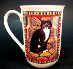 Four Seasons Russ Berrie Tuxedo Cat Coffee Mug Tea Cup Collector Novelty Gift | eBay