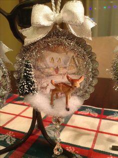 Christmas, ornament, vintage, tin ornament, deer ornament, vintage tart tin