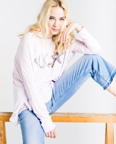 Oversized Tee, Lady, Tees, Long Sleeve, Lilac, Grunge, Sleeves, Collections, Style