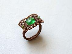 Macrame Rings, Macrame Jewelry, Fashion Rings, Fashion Jewelry, Macrame Tutorial, Ring Earrings, Jewelry Rings, Jewellery, Gemstone Rings