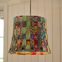 """Patchwork Fabric Hanging Lamp, 19""""DIAM - VivaTerra"""
