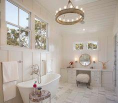 Love the idea of a high ceiling in bath w big windows for light yet total privacy Modern farmhouse bath. Modern Organic Interiors, Oakland, CA. Simpson Design Group.