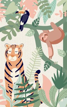 Checkout our amazing kids jungle animal wallpaper mural. Create the perfect kids bedroom or playroom with our fun safari animal characters. Tier Wallpaper, Animal Wallpaper, Nursery Wallpaper, Jungle Pattern, Pattern Art, Illustration Jungle, Pattern Illustration, Illustrator, Wall Murals