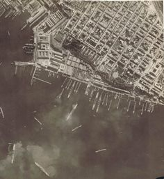 Italian warships in Taranto harbour - reconnaissance photo before the famous aerial attack mounted from carrier HMS Illustrious in November 1940, often cited as the inspiration for Pearl Harbor.  One battleship was sunk at her moorings and two (including the modern Littorio) only saved by running them aground.