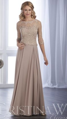 46c364fbcc19 Christina Wu Elegance 17848 is a mother of the bride peplum gown that has a  Bateau neckline and -length sleeves on the sheer beaded lace bodice.