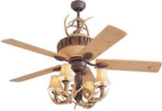 Monte Carlo 5GL52WI shown in Weathered Iron finish with Lodge Pine Blades with MC116 Antler Light Kit and Antler Scroll Kit MC99 (sold separately)  Rustic Ceiling Fans - Brand Lighting Discount Lighting - Call Brand Lighting Sales 800-585-1285 to ask for your best price!