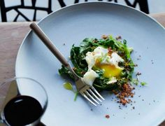 Poached Eggs with Bacon Crumbs and Spinach | KitchenDaily.com