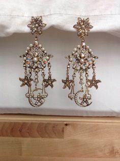 Vintage Kirks Folly Gold Moon And Star Rhinestone Earrings #KirksFolly