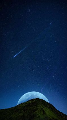Moon Hiding Behind Mountain - IPhone Wallpapers